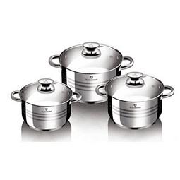 Set de 6 ollas con tapa de acero inoxidable