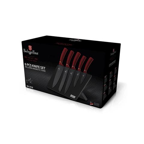 Set de cuchillos de 6 piezas color negro/rojo con soporte de madera magnético