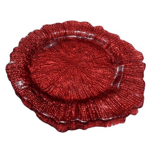 Plato para cocktail de vidrio rojo