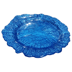 Plato para cocktail de vidrio Azul
