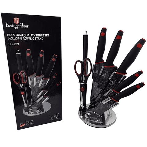 Set de 8 piezas con soporte acrílico negro/rojo