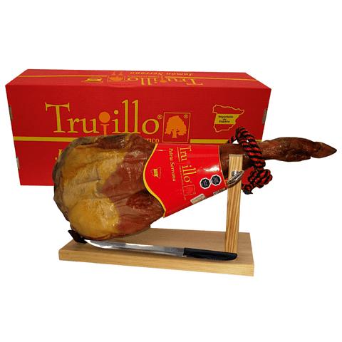 Caja paleta de Jamón Serrano Trujillo ET. Roja 4,0 kilos + atril y cuchillo