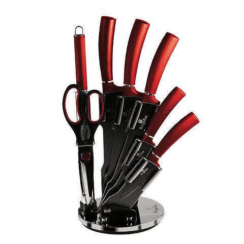 SET DE CUCHILLOS de 6 piezas con atril color negro-burgundy‰