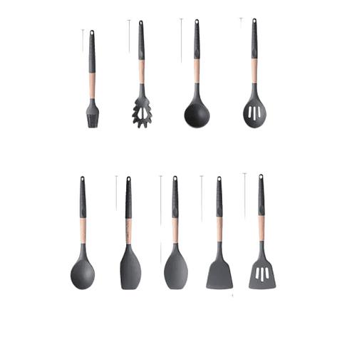Utensilios De Cocina Silicona Madera Negros