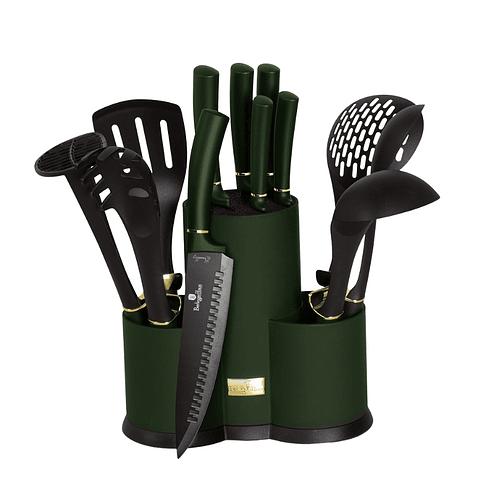 Set de cuchillos y utensilios 12 piezas color verde
