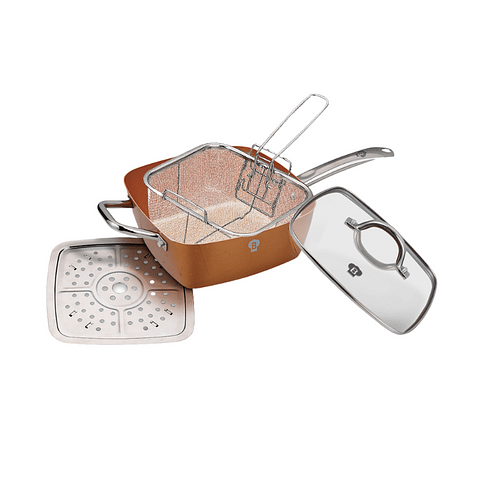 Sartén Freidora cuadrada color cobre 8pzs