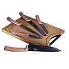 Set de cuchillos de 6 piezas rosa metálico con tabla de cortar de bambú