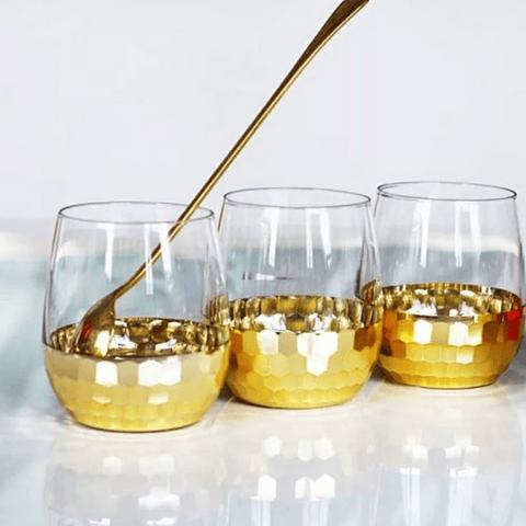 Vasos de vidrio Panal Gold