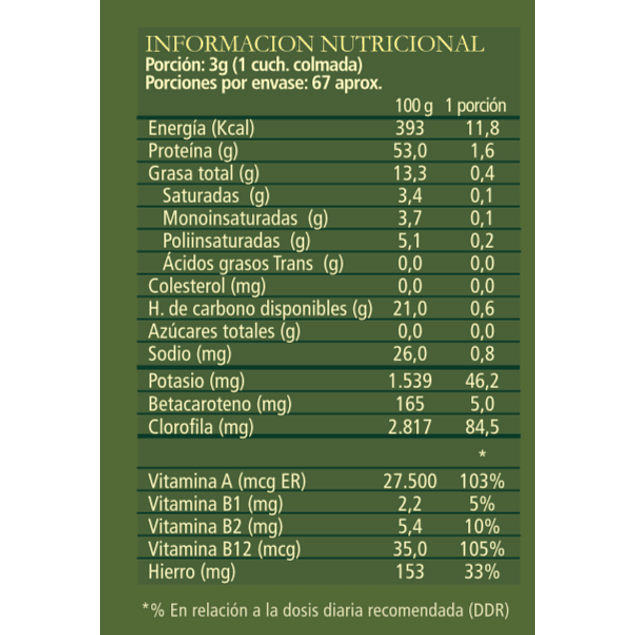 Chlorella Nature 200 g polvo 100% Orgánico