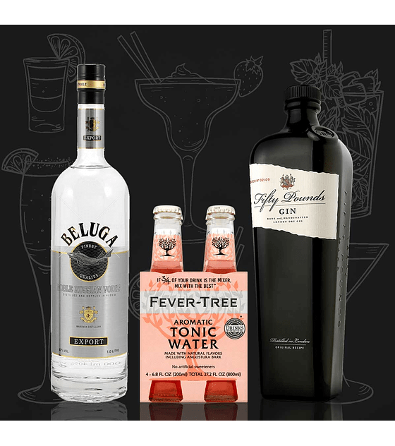 Pack Vodka Beluga, Gin Fifty Pounds & Fever-Tree Aromatic