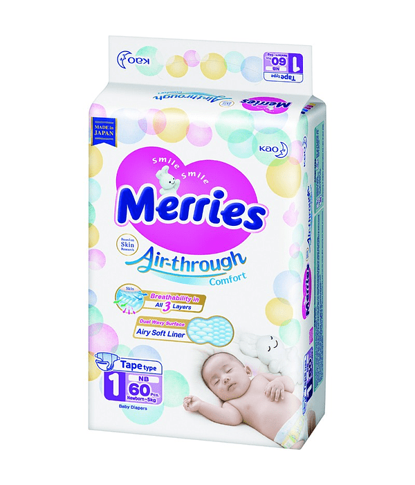 Merries Pañal RN 5 kg 60/U Jumbo Pack