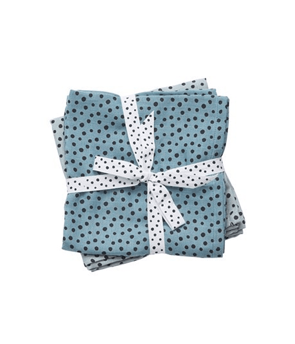 Done by Deer Swaddle de Muselina Happy Dots Azul 2/U