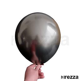 "Globo Negro Grafito Cromado 12"""