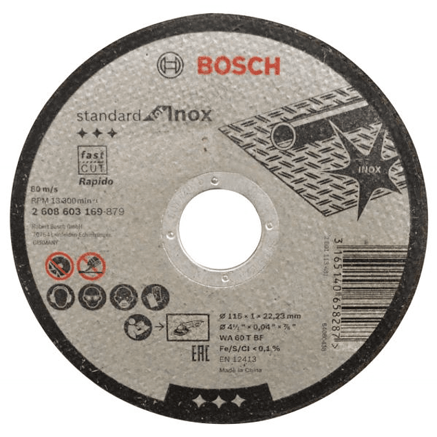 DISCO MILIMETRICO 4.1/2X1MM INOX BOSCH