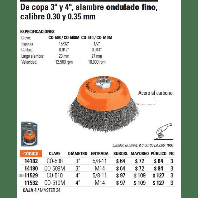 ESCOBILLA TRUPER DE COPA P/ESMERIL LISA  FINA 14 MM # CO-508M