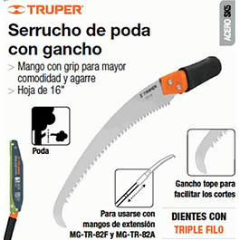 SERRUCHO TRUPER PODAR 16PULG C/GANCHO 3 FILOS # STP-16X