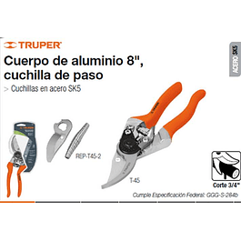 TIJERA TRUPER JARDINERIA CUERPO ALUMINIO 8PULG # T-45