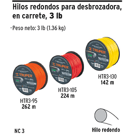 NYLON P/ORILLADORA  2.7 MM 224MTS HTR3-105 CARRETE TRUPER