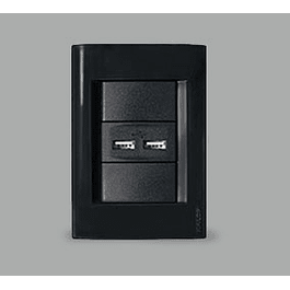 ENCHUFE EMBUTIDO USB DOBLE NEGRO KALOP