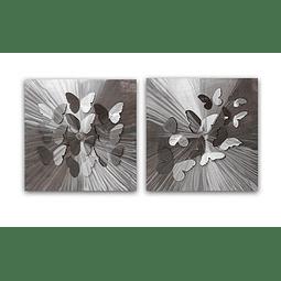 Escultura de Parede em Aço Inox Borboletas