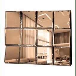 Quadro Espelho Big Mosaic Bisotê Bronze ou Prata com espelhinhos de 30x30cm - Alteração de valores por medidas