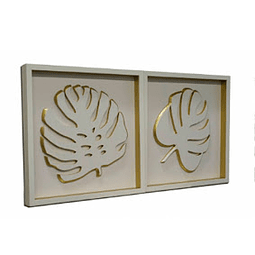 Escultura de Parede em MDF Gold Leaves - Alteração de valores por medidas
