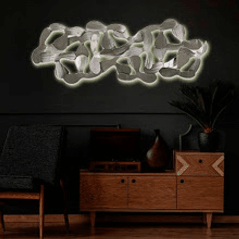 Escultura de Parede em Aço Inox Katanas LED