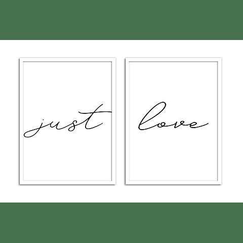 Conjunto de Quadros Just Love - Alteração de valores por medidas