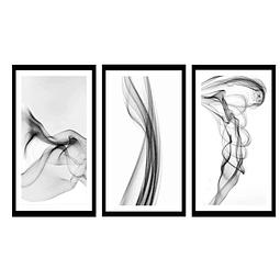 Trio  de Quadros Separados Fumaças - Alteração de valores por medidas