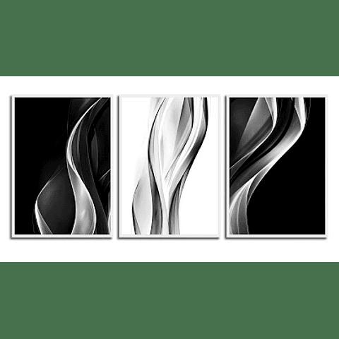 Trio de Quadros Blurred Lines - Alteração de valores por medidas