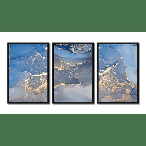 Conjunto de Quadros Granito Azul (Trio) - Alteração de valores por medidas