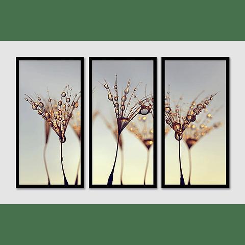 Trio de Quadros Separados Falling Drops - Alteração de valores por medidas