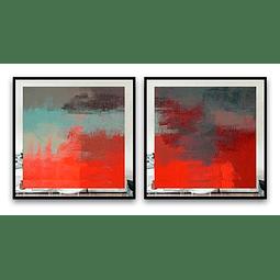 Conjunto de Quadros Watercolor com Paspatur de Espelho  - Alteração de valores por medidas