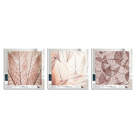 Conjunto de Quadros Mil folhas com Paspatur de Espelho  - Alteração de valores por medidas