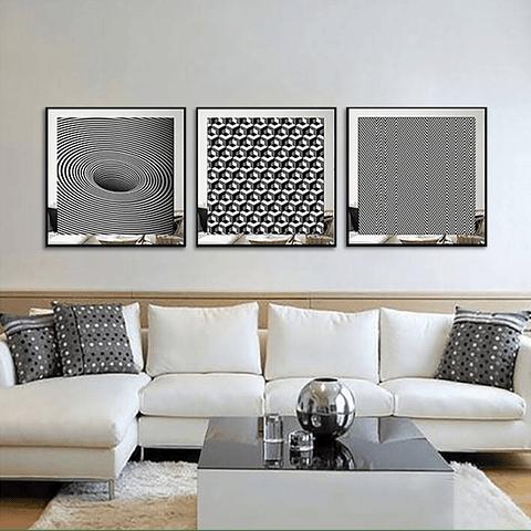 Conjunto de Quadros Abstract com Paspatur de Espelho  - Alteração de valores por medidas