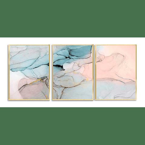 Trio de Quadros Separados Aqua - Alteração de valores por medidas