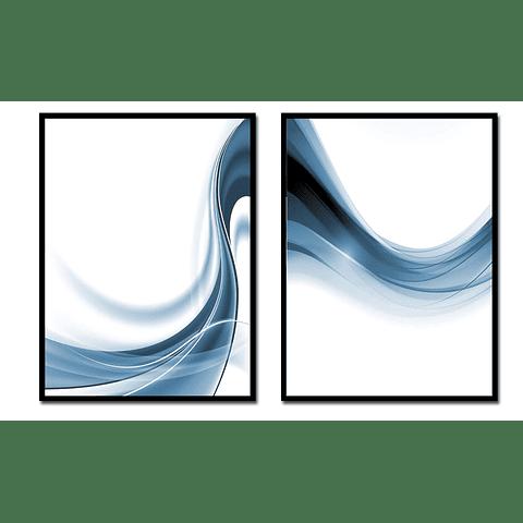 Conjunto de Quadros Onda Azul - Alteração de valores por medidas