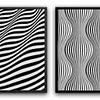 Conjunto de Quadros Abstrato Ondulações   - Alteração de valores por medidas