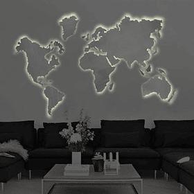 Mapa Mundi em Aço Inox Light - Alteração de valores por medidas