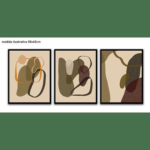 Trio de Quadros Separados  Grafito - Alteração de valores por medidas