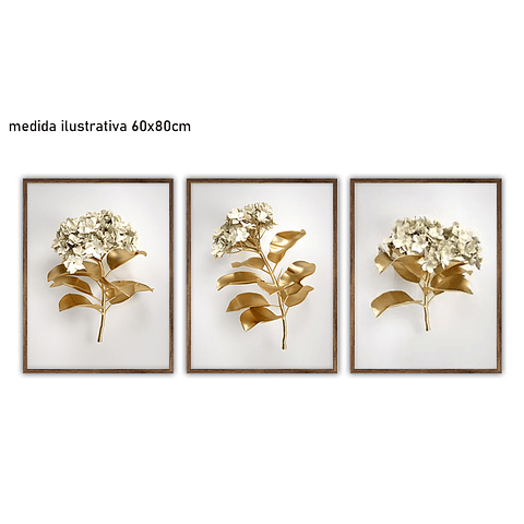 Trio de Quadros Separados Roses D'or - Alteração de valores por medidas