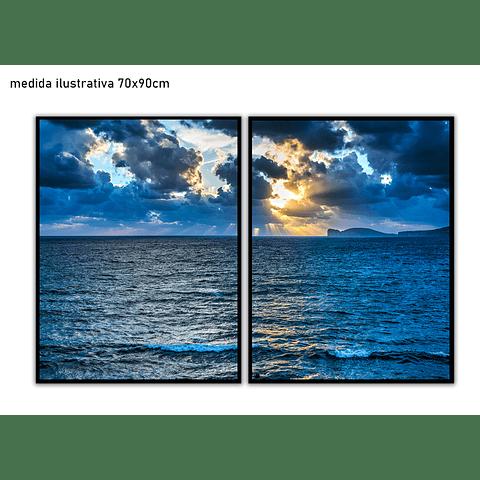 Conjunto de Quadros Separados Mar azul - Alteração de valores por medidas