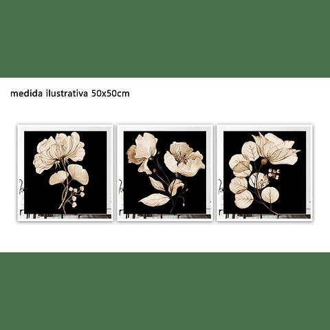 Trio de Quadros Separados Yanna com Paspatur de Espelho - Alteração de valores por medidas