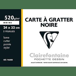 Clairefontaine 24 x 32 cm Tablero raspado negro, 520 g, 2 hojas