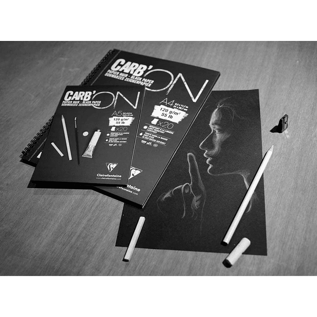 Carb'ON Bloc encolado papel de color Negro - (3 tamaños)