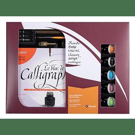 Caja de caligrafía con 5 frascos de tintas