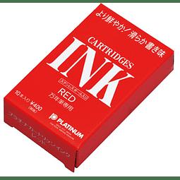 Tinta Roja - Para pluma estilográfica - 10 cartuchos