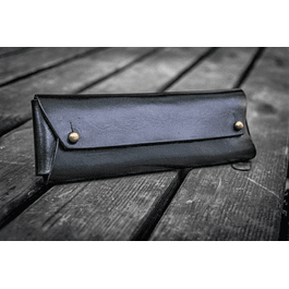 The Student Leather Pencil Case - Black