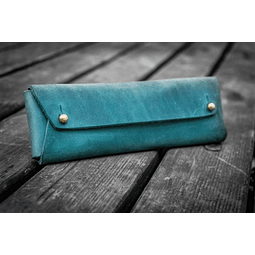 The Student Leather Pencil Case - Crazy Horse Forest Green