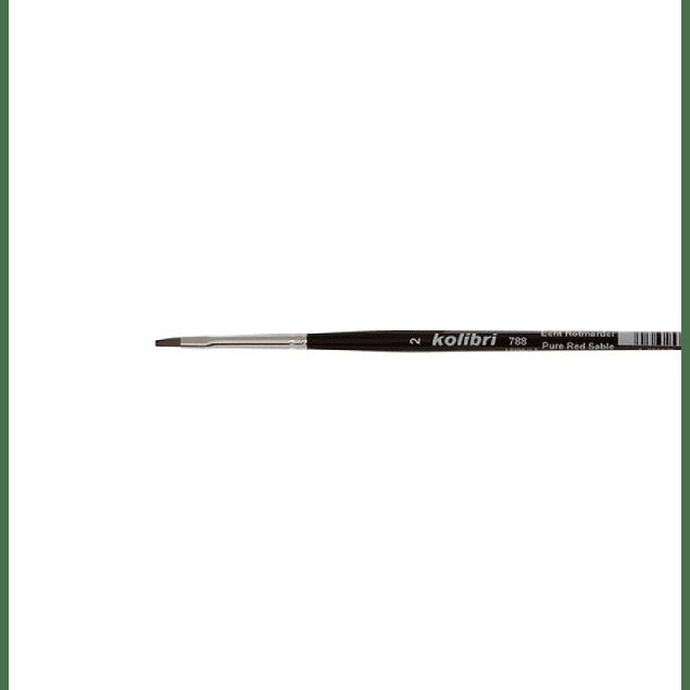 Serie 788 - Pincel plano de pelo rojo puro Sable